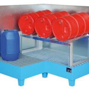 Hoekopvangbak - 3 X 200 l vat