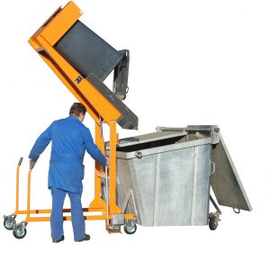 Kiepsysteem met handpomp voor afvalcontainers