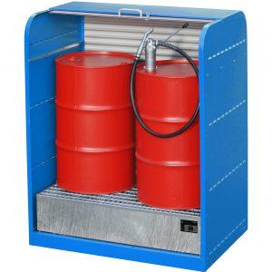 Afsluitbare rolluikkast voor opslag van max 2 X 200 l vaten