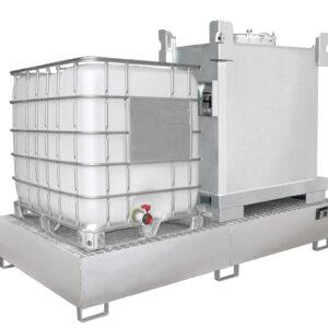 Opvangbak RVS - 2 X 1000 l IBC