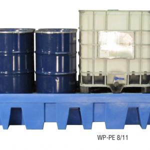 PE opvangbak voor 8 x 200 l vaten of 2 IBC's met PE pallet