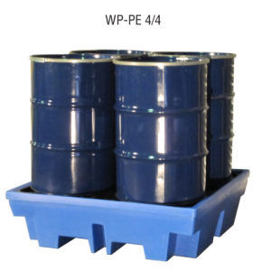 PE opvangbak voor 4 x 200 l vaten met PE pallet