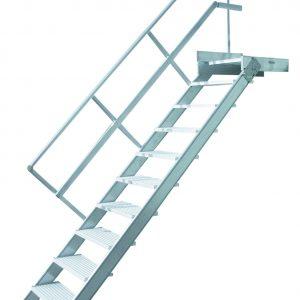 Vaste trap met platform - 45°