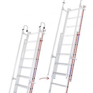 2 x 11 + 12 treden - Inhaakbare en uitschuifbare 2-delige ladder